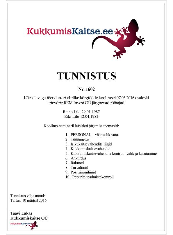 REM Invest OÜ Tunnistus 1602a
